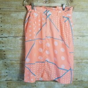 Downeast Basic Coral Pink & Blue Neon Pencil Skirt